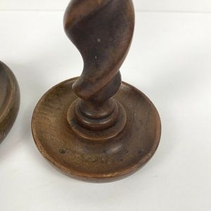 Vintage Accents - Vintage Pair Of Twisted Wood Candle Stick Holders